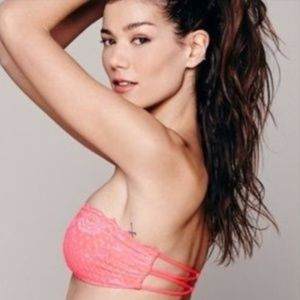 NWT Free People Lace Bandeau in Fiesta pink-L